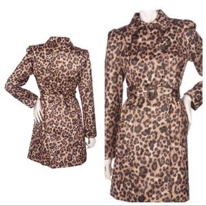 Kardashian Animal Print Double Breast Trench Coat